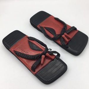 COLE HAAN red and black resort slide sandals